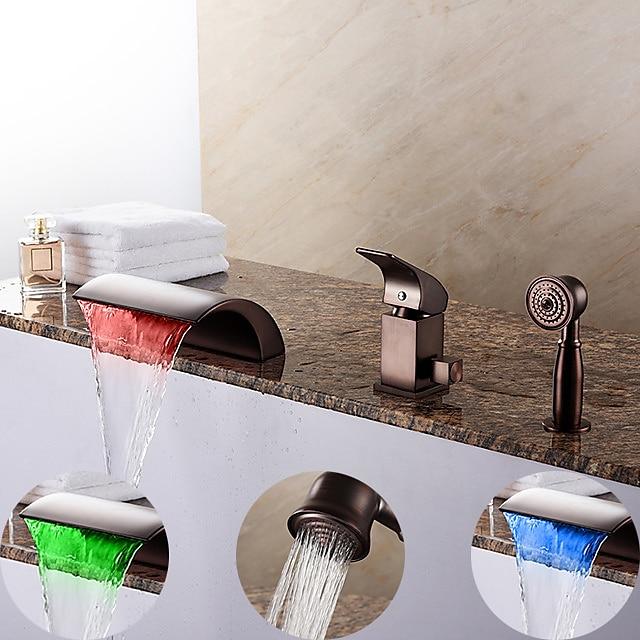 Bathtub Faucet - Contemporary Oil-rubbed Bronze Roman Tub Ceramic Valve Bath Shower Mixer Taps / Brass / Single Handle Three Holes