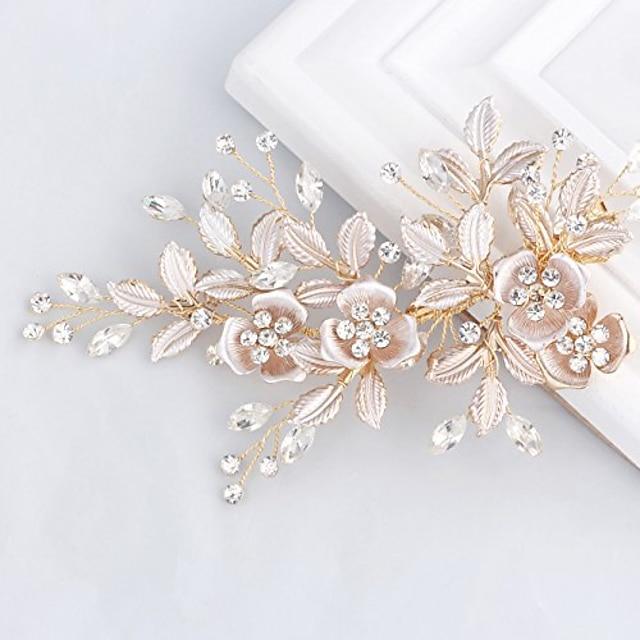 라이트 로즈 골드 웨딩 클립 라인 석 신부 빗 머리핀-여성을위한 수제 꽃 클립 헤드 조각