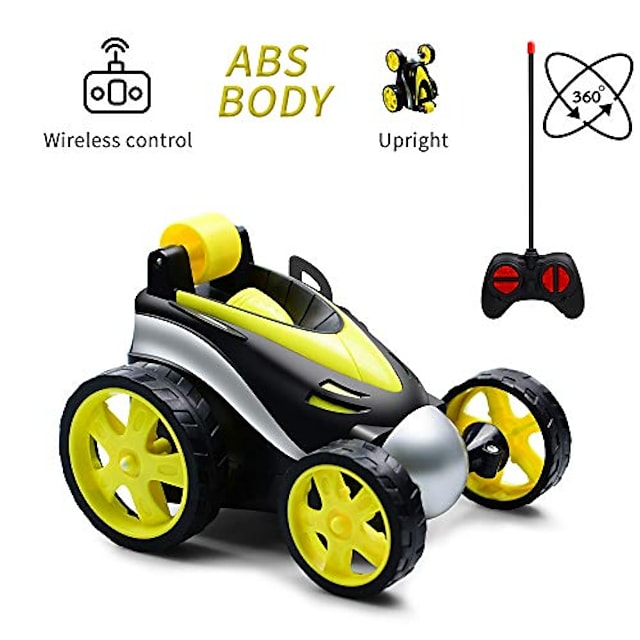 rc stunt car,remote control car,360 degree flips rotating race car,radio controlled toy car with four wheels, birthday gift for kids children aged 3-10 (yellow)