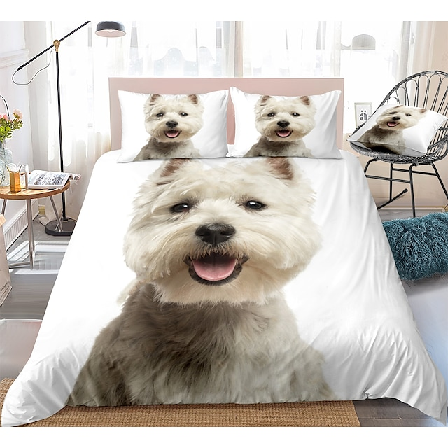 Cute Dog Print 3-Piece Duvet Cover Set Hotel Bedding Sets Comforter Cover with Soft Lightweight Microfiber, Include 1 Duvet Cover, 2 Pillowcases for Double/Queen/King(1 Pillowcase for Twin/Single)