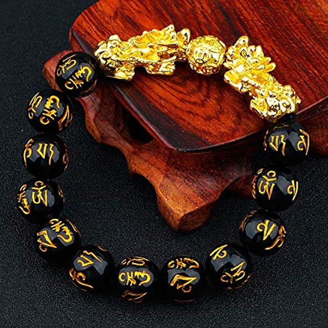 yfstyle fengshui black obsidian wealth bracelet necklace set men women good luck pixiu bracelet 12mm beaded double piuxiu buddha bracelet adjustable set jewelry gifts -bracelet necklace