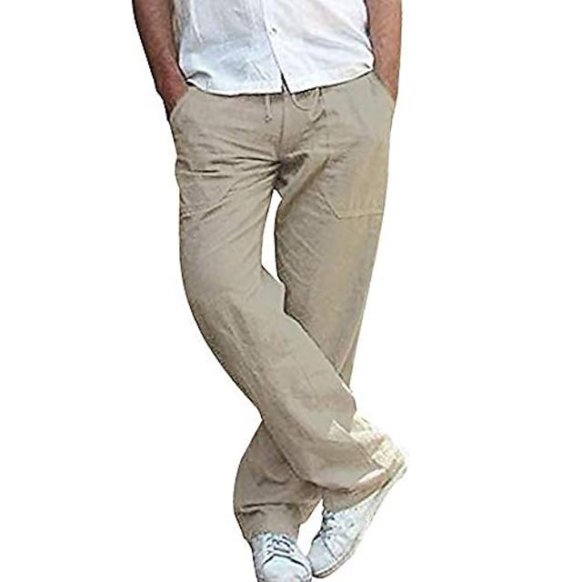 Мужские повседневные брюки, легкие брюки с завязками на талии, прямые дышащие летние брюки для тренажерного зала для йоги, темно-хаки