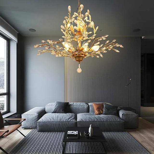 8-lys 78 cm krystal / led vedhængslampe metal krystal antik messing moderne moderne 110-120v / 220-240v