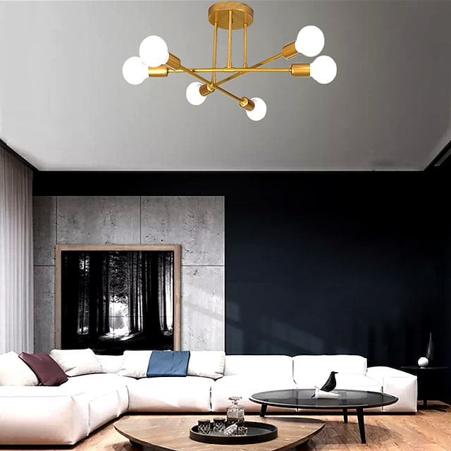 Lampadario a 6 teste lampadario stile nordico design sputnik metallo stile artistico finiture verniciate industriali 110-120 v 220-240 v