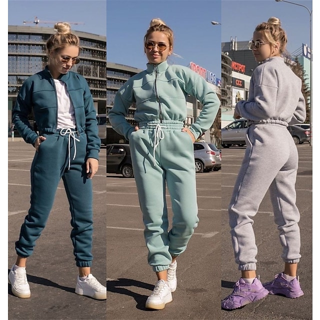 Women's 2 Piece Full Zip Tracksuit Sweatsuit Athletic Athleisure 2pcs Winter Long Sleeve Thermal Warm Moisture Wicking Breathable Fitness Gym Workout Running Jogging Exercise Sportswear Solid Colored