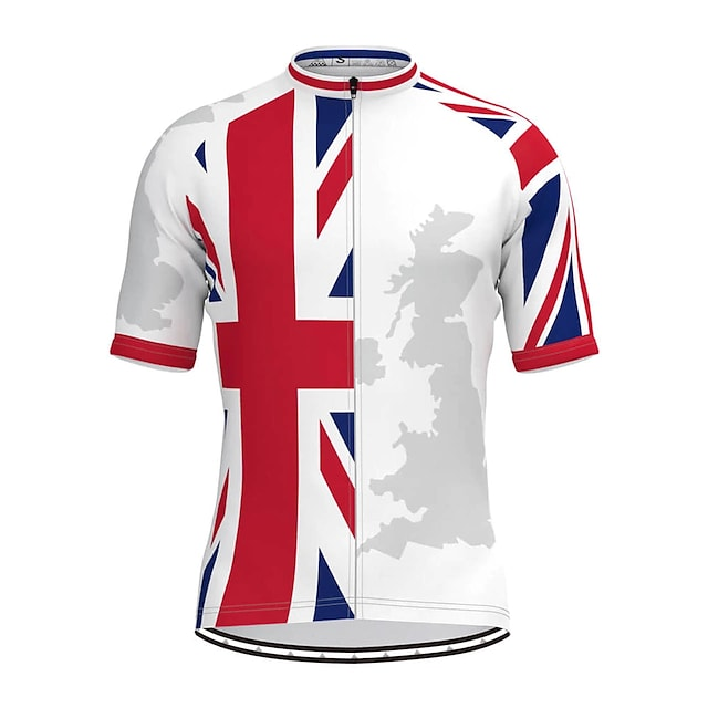 21Grams Men's Short Sleeve Cycling Jersey Summer Polyester White UK National Flag Bike Top Mountain Bike MTB Road Bike Cycling Breathable Back Pocket Sports Clothing Apparel / Stretchy / Athletic