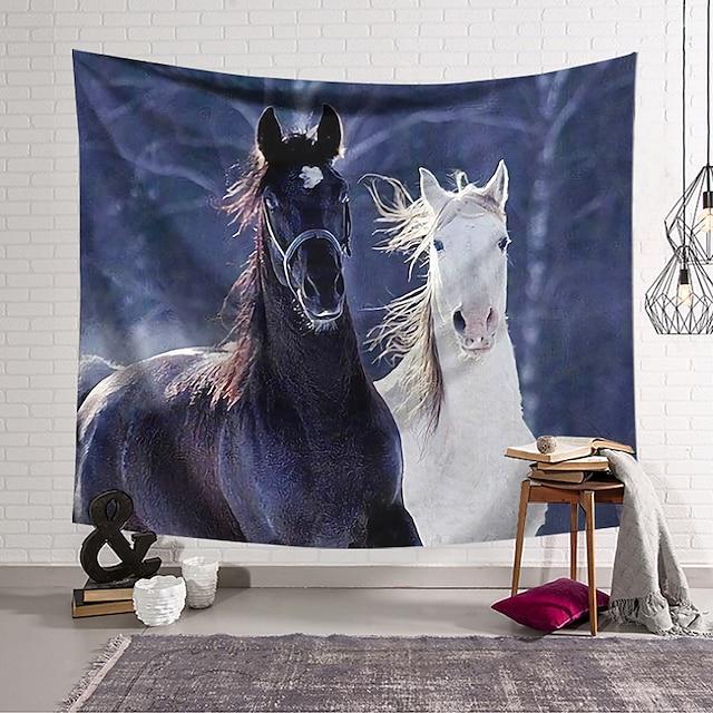 seinävaatekangas taiteellinen sisustus huopa verho riippuva kodin makuuhuone olohuoneen sisustus mustavalkoinen hevonen polyesteri