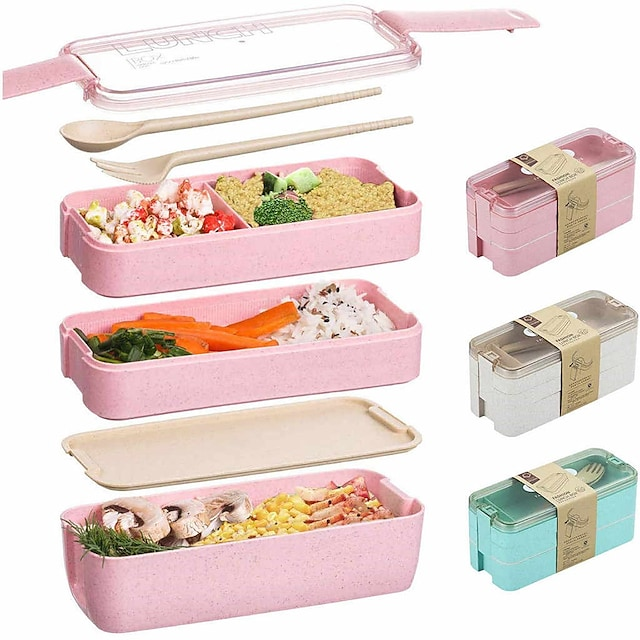 900 ml přenosný obědový box 3 vrstvové bento pšeničné slámy bento boxy mikrovlnné nádobí nádoba na skladování potravin nádoba na potraviny 3 sady 1 sada
