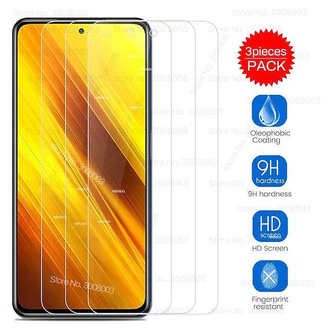 telefon Skærmbeskytter Til XIAOMI Poco X3 NFC Mi 9T Redmi note 9 Redmi Note 9 Pro Redmi Note 9 Pro Max Hærdet Glas 3 stk High Definition (HD) Ridsnings-Sikker Skærmbeskyttelse Tilbehør til