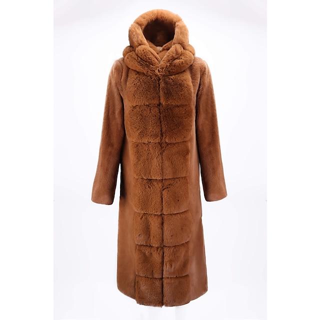 Per donna Cappotto di pelliccia sintetica Quotidiano Per uscire Autunno Inverno Lungo Cappotto Largo Caldo Elegante Giacca Manica lunga Tinta unita Colletto di pelliccia Blu Grigio Rosso