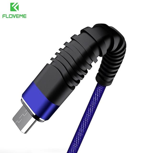 FLOVEME Micro USB Cablu Normal Transmiterea datelor Incarcator de telefon 2 A 2.0M (6.5Ft) Nailon Pentru Samsung Xiaomi Huawei Accesorii de Mobil