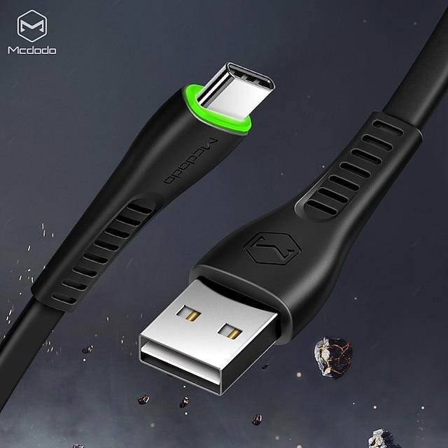 MCDODO Type-C Kabel Plat Snelle kosten 2 A 1.8M (6Ft) TPE Voor Samsung Xiaomi Huawei Mobiele telefoonaccessoire