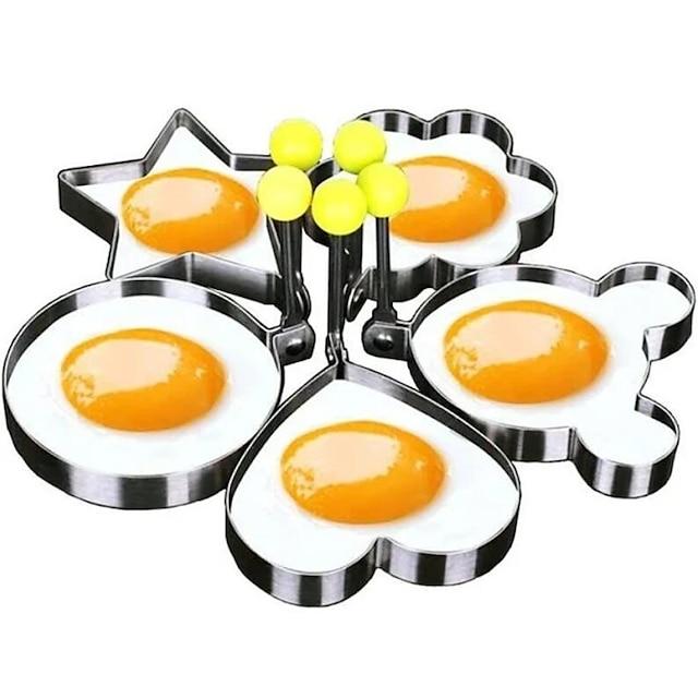 5 개 세트 계란 후라이 몰드 팬케이크 링 모양의 오믈렛 몰드 몰드 튀김 계란 요리 도구 주방 용품 액세서리 가제트
