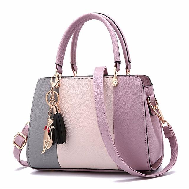 borse firmate in pelle pu con cuciture e borsa a tracolla casual borsa calda e dolce con nappe per le donne tutti i giorni