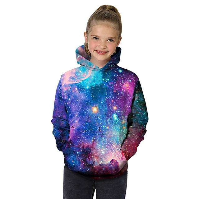 Børn Baby Pige Hættetrøje og sweatshirt Langærmet Fantastiske Dyr Galakse Farveblok Geometrisk 3D Trykt mønster Lilla Børn Toppe Aktiv Basale