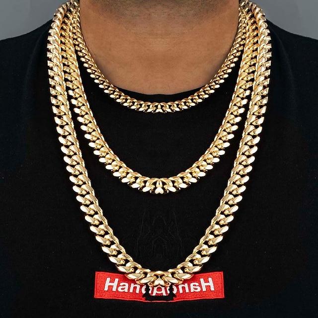 Férfi Nyakláncok Vastag lánc Dobozlánc francia lánc Divat Hip Hop Rozsdamentes acél Ezüst Arany Fekete 55 cm Nyakláncok Ékszerek 1db Kompatibilitás Ajándék Napi