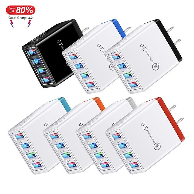Fabriksudsalg 220 W Udgangseffekt USB Telefonoplader Lille og mobil oplader Væg Oplader Multi-udgange QC 3.0 CE / EU EØF Til Xiaomi MI HUAWEI Apple iPhone 12 11 pro SE X XS XR 8 Samsung Glaxy S21