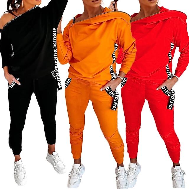 zipper design letter print hooded top & pockets pants set, women tracksuit hooded sweatshirt pants sets (orange, l)