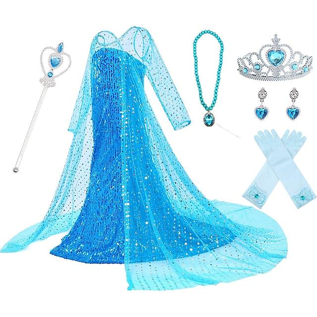 Princess Elsa Dress Flower Girl Dress Girls' Movie Cosplay A-Line Slip Pattern Dress Vacation Dress White Blue Pink Dress Children's Day Masquerade Sequin Cotton Voile