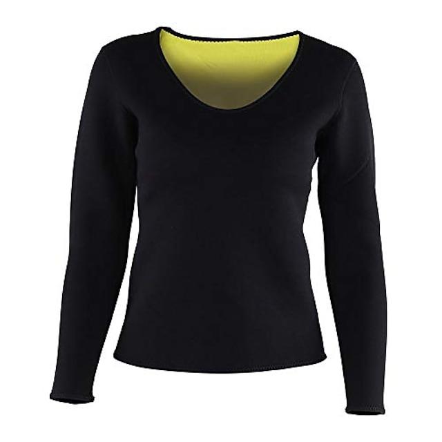 النساء مدرب خصر قميص النيوبرين الساخن ساونا دعوى عرق الجسم المشكل قميص التخسيس قميص طويل الأكمام (م)