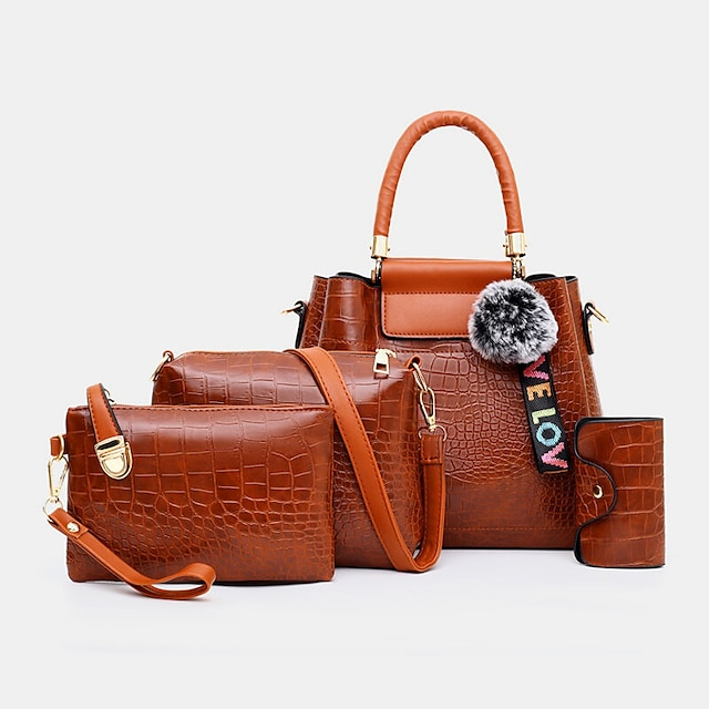 women 4pcs casual handbag solid crocodile pattern fluffy ball shoulder bag