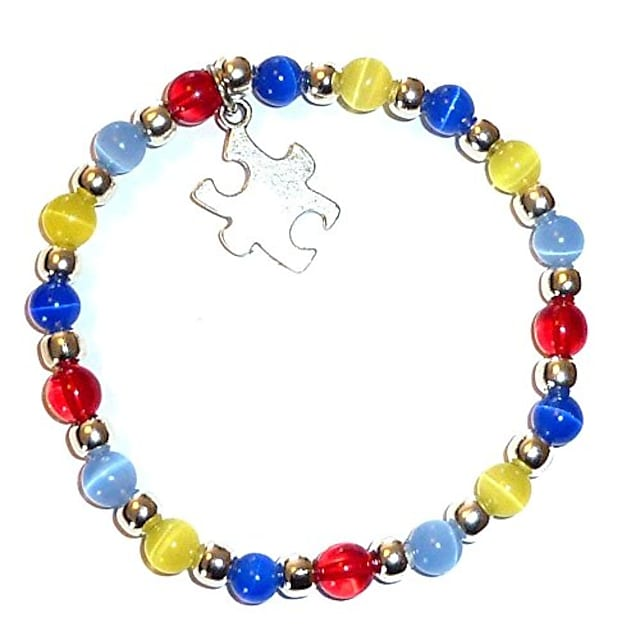 autism awareness bracelet, adult size, comes packaged (stretch (fits most adults))