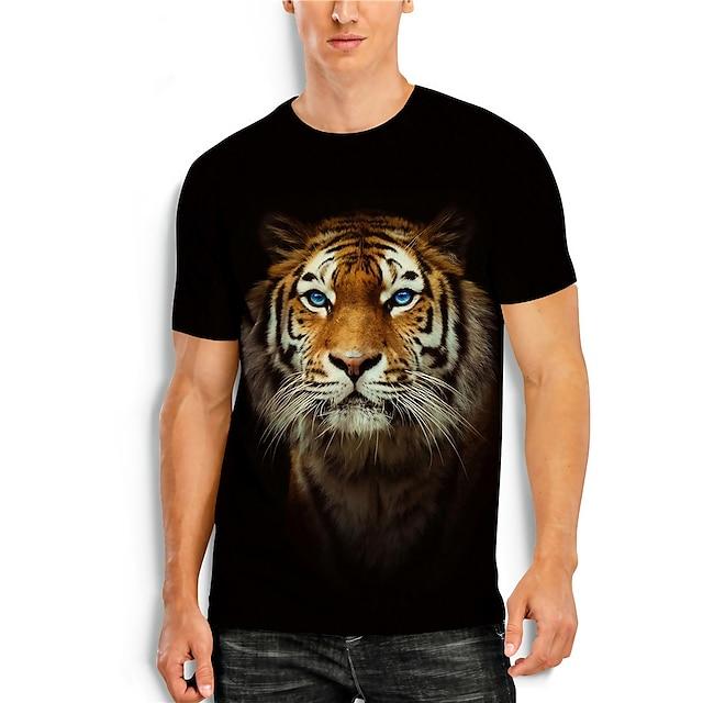 สำหรับผู้ชาย เสื้อยืด เเสื้อยืด พิมพ์ 3 มิติ 3D เสือ สัตว์ 3D ลายพิมพ์ แขนสั้น ทุกวัน ท็อปส์ ไม่เป็นทางการ คอกลม สีดำ / ฤดูร้อน
