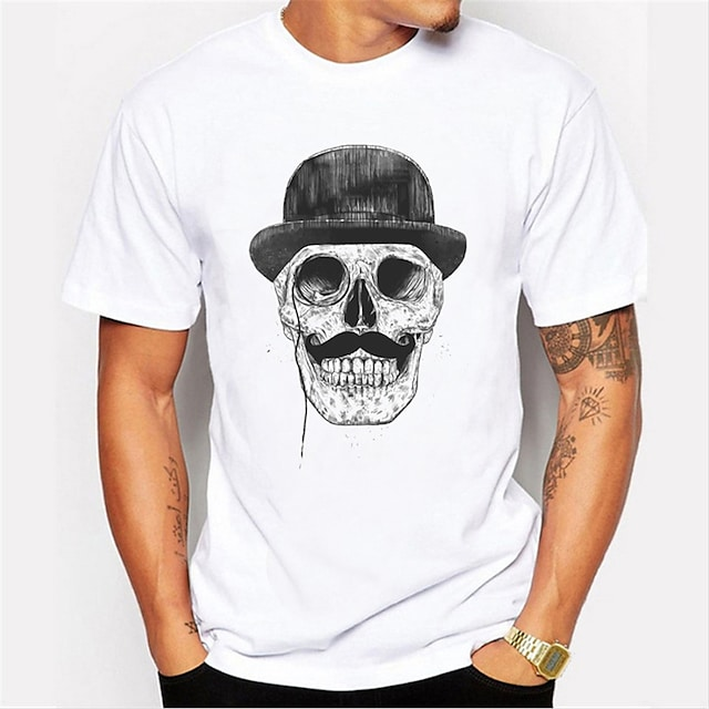 Men's T shirt 3D Print Graphic Skull Print Short Sleeve Daily Tops Casual Punk & Gothic White