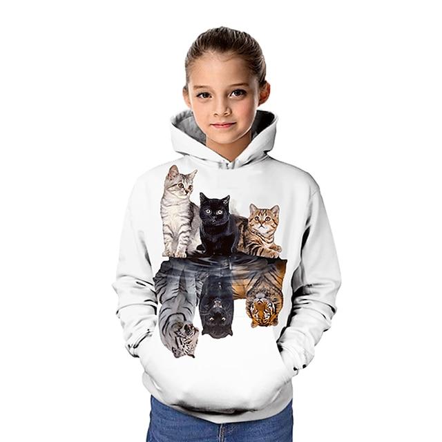 Kids Girls' Hoodie & Sweatshirt Long Sleeve Cat Graphic 3D Animal Print White Children Tops Active