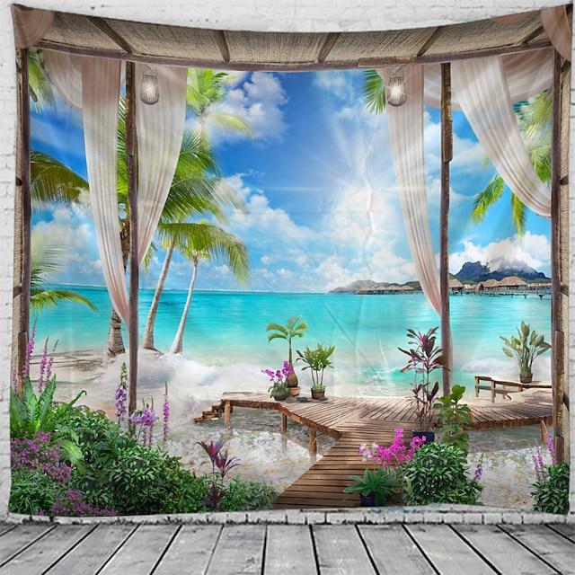 παράθυρο τοπίο τοίχο ταπετσαρία τέχνη διακόσμηση κουβέρτα κουρτίνα κρεμαστό σπίτι υπνοδωμάτιο σαλόνι διακόσμηση καρύδα δέντρο θάλασσα ωκεανός παραλία