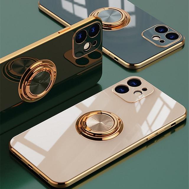 telefono Custodia Per Apple Per retro Silicone iPhone 12 Pro Max 11 SE 2020 X XR XS Max 8 7 Resistente agli urti Con supporto Placcato Tinta unita TPU
