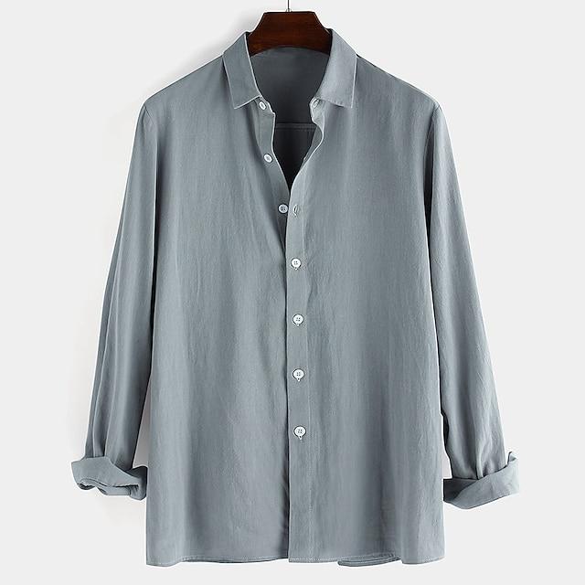 Erkek Gömlek basılamayan Solid Aşağı düğmesi Uzun Kollu Günlük Üstler %100 Pamuk Günlük Beyaz Siyah Havuz