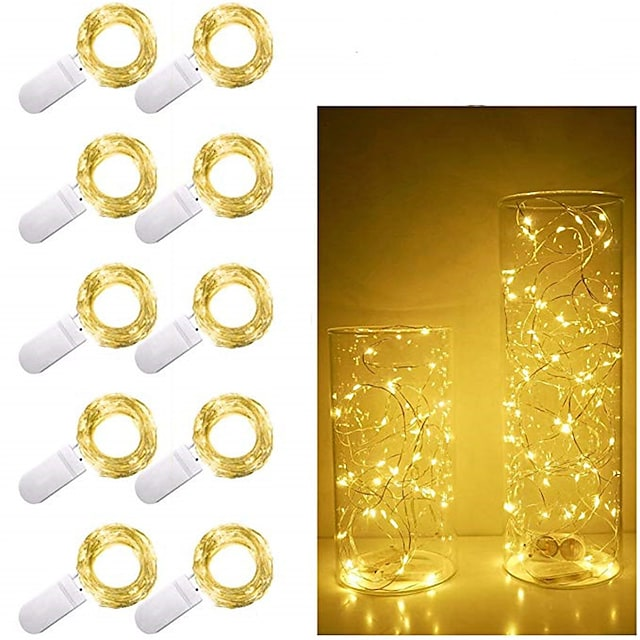 10pcs 1m 10 LED Fairy Lights Outdoor String Lights CR2032 Battery Operated LED Copper Wire String Lights For Xmas Garland Party Wedding Home Decoration
