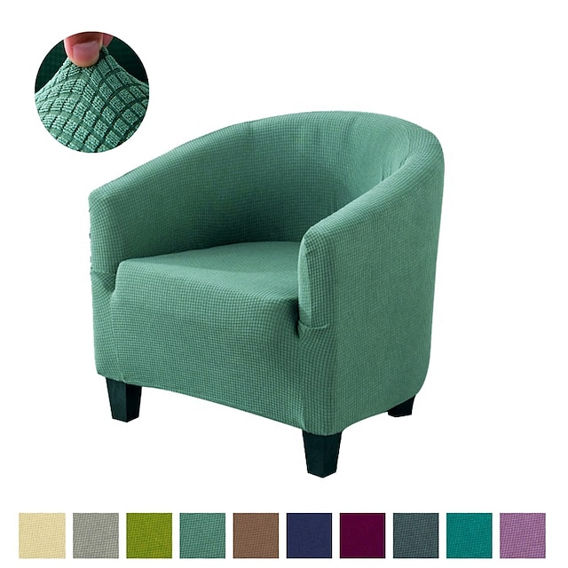 Stretch Club Chair Cover Tub Chair Sliocover Plain Solid Color Durable Washable Furniture Protector