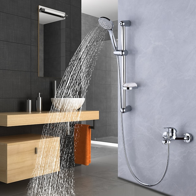 Shower System / Rainfall Shower Head System Set - Dual-Head pullout Contemporary / Traditional Electroplated Mount Outside Ceramic Valve Bath Shower Mixer Taps