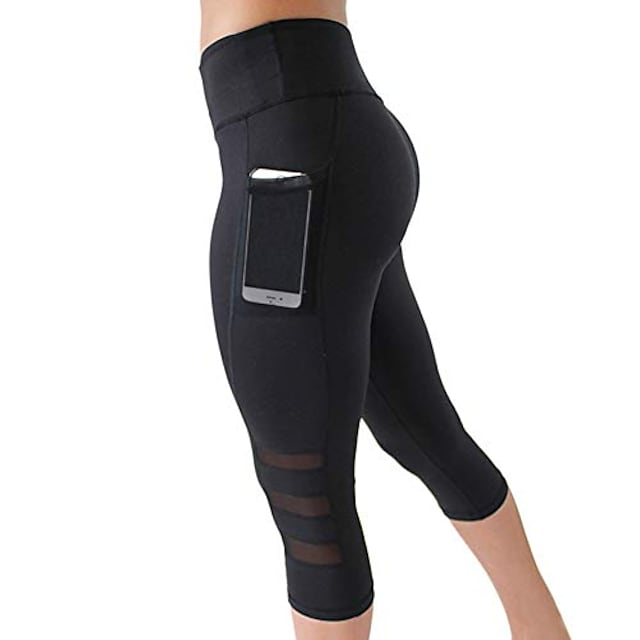 여성용 3/4 스포츠 레깅스 요가 바지 달리기 피트니스 조깅 바지 트레이닝 스타킹 (휴대폰 케이스 포함) S-XXL-블랙-M