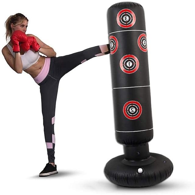 φουσκωτή τσάντα διάτρησης πυγμαχίας για πολεμικές τέχνες kung fu mma grappling kickboxing ανεξάρτητο εύκαμπτο κενό βαρέων καθηκόντων ανακουφίζει την προπόνηση αντοχής στρες crossfit μαύρο 1,6μ