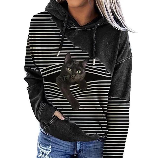 Жен. Толстовка с капюшоном и пуловером Кот Графика 3D Передний карман С принтом Повседневные 3D печать Классический На каждый день Толстовки Толстовки Черный