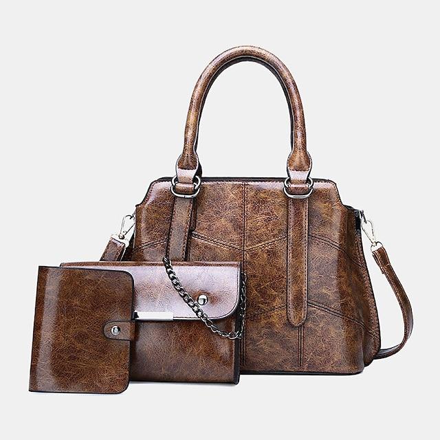 women 3pcs solid multi-function handbag crossbody bag