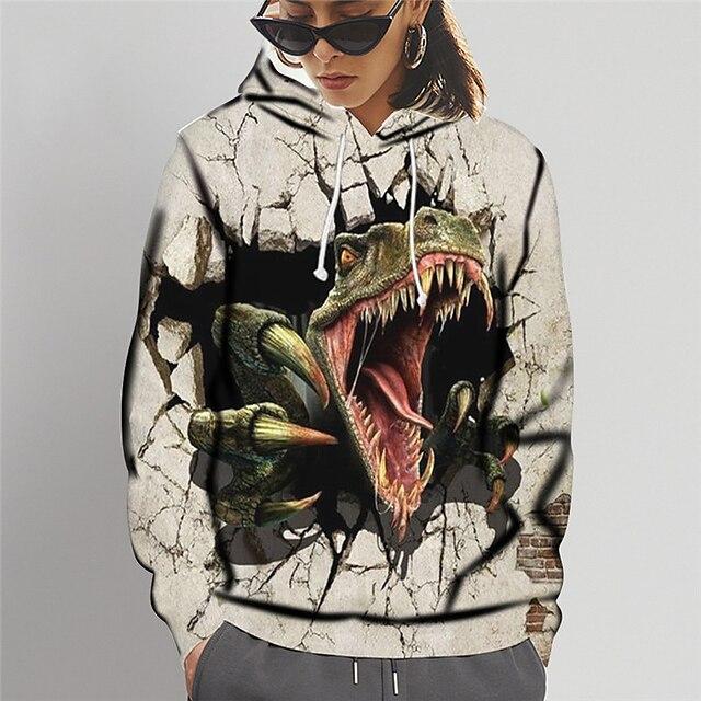 Dames Sweatshirt met capuchon Grafisch dier Opdruk Dagelijks Sport 3D-afdrukken Actief leuke Style Hoodies Sweatshirts Bruin