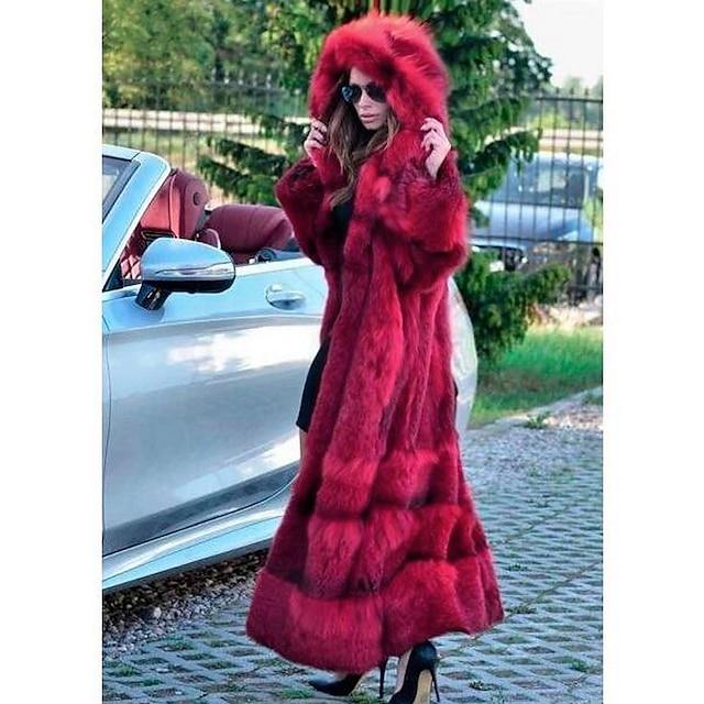 نسائي معطف من الفرو الصناعي مناسب للخارج خريف & شتاء طويلة معطف عادي جاكتس كم طويل لون سادة أحمر
