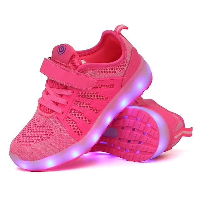 เด็กผู้ชาย เด็กผู้หญิง รองเท้ากีฬา ความสะดวกสบาย Light Up รองเท้า การชาร์จ USB ผ้ายืดหยุ่น เด็กน้อย (4-7ys) เด็กโต (7 ปีขึ้นไป) ทุกวัน วสำหรับเดิน สีดำ สีชมพู สีเขียว ตก ฤดูใบไม้ผลิ