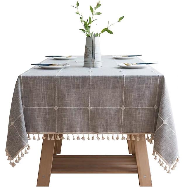Tovaglia a quadretti ricamata in puro cotone e lino nappe in stoffa rettangolare tavolino da pranzo tovaglietta da pranzo