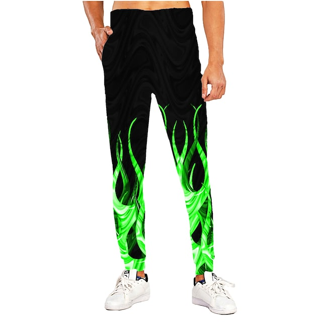Men's Sporty Casual / Sporty Breathable Quick Dry Sports Casual Holiday Pants Sweatpants Pants 3D Graphic Prints Full Length Print Black