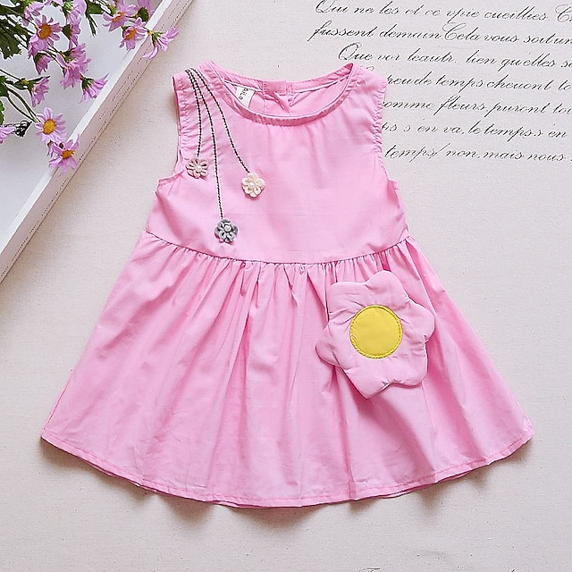 Toddler Little Girls' Dress Floral Print White Yellow Blushing Pink Knee-length Sleeveless Cute Dresses Regular Fit