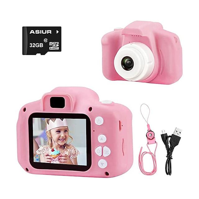 fotocamera digitale per bambini, 1080p fhd videocamera digitale per bambini videocamera per bambini con scheda SD da 16 gb per 3-10 anni regalo per ragazze ragazzi (16 gb / 32 gb)