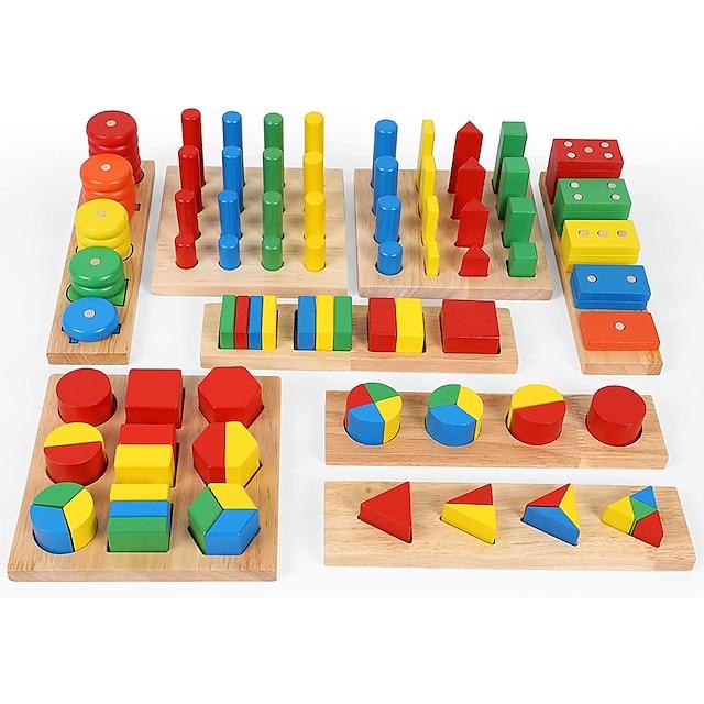 Outil pédagogique Montessori Jeux Avec Pions en Bois Jouets Educatifs Mathématiques 8-14 pcs compatible En bois Legoing Frais Éducation Garçon Fille Jouet Cadeau / Enfant / Développer la créativité