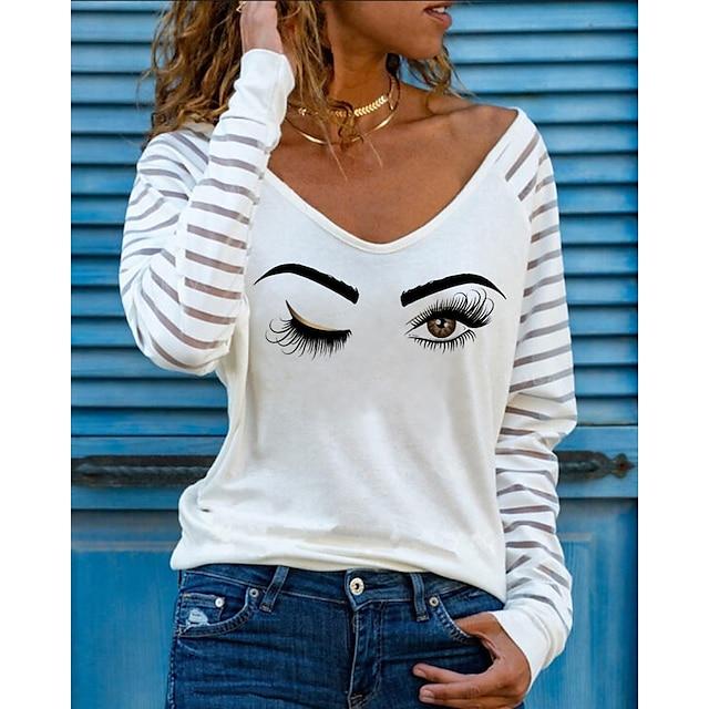 Women's T shirt Graphic Long Sleeve Print V Neck Tops Basic Basic Top White