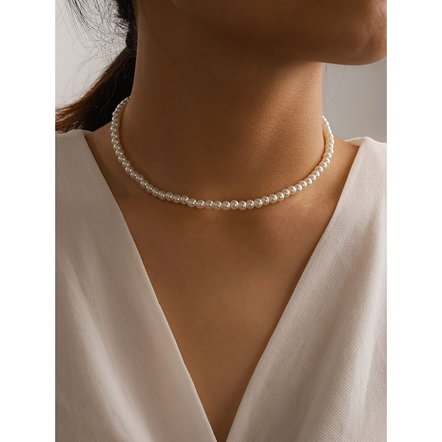 Women's Beaded Necklace Necklace Simple Classic Imitation Pearl Alloy White 40 cm Necklace Jewelry 1pc For