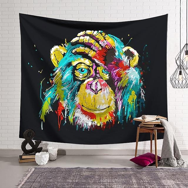 Wandtapijten art decor deken gordijn opknoping thuis slaapkamer woonkamer decoratie polyester kleurrijke aap die gezicht